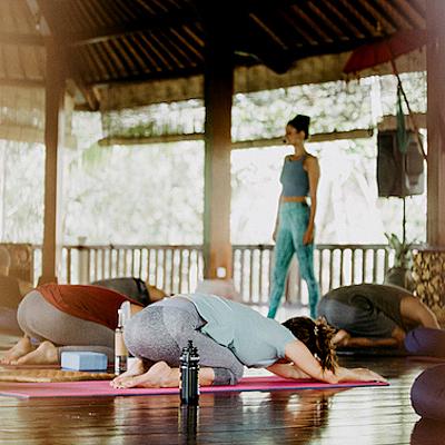 Mehrere Personen machen Yoga auf Yogamatten
